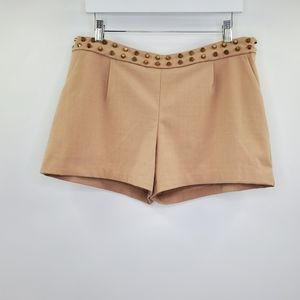 GIANNI BINI Studded Shorts Beige Rocker Mid Rise